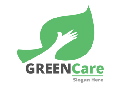 Green Care Nature Logo Template green hand leaf drawing leaf logo hand crafted branding template vector design web logo illustration ui