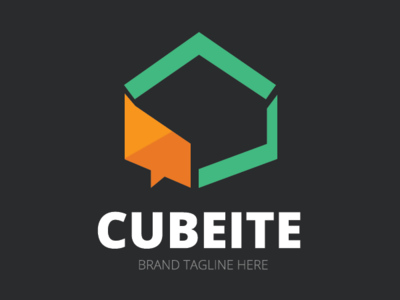 Cubeite Chat Logo Template free logo talking talk software messaging message logotype logo identity hexagon cube corporate color chat branding brand blogging blog application app