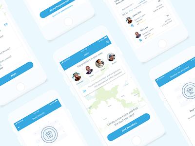 Mobile App UI illustration app job business bonus map service provider sketch clean ux ui