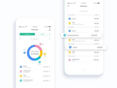 Money Management App – Pie Chart & Statistics pie chart clean category statistics tracker money flat ui design