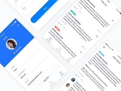 Office Ordering App clean app design app list cards statuses sketch minimal profile comments order blue clean ui