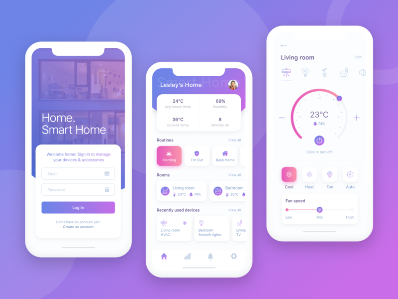 Smart Home Control App Concept ui  ux design vector ui clean design art minimal sketch app smart remote control violet smart home sign in overview ios design app cards