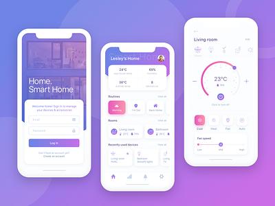 Smart Home Control App Concept ui  ux design vector ui clean design art minimal sketch app smart remote control violet smart home sign in overview ios design app cards
