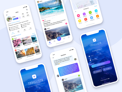 Travel Social Media Network Design Concept create account chat icons categories mobile design traveling travel app design concept mobile app mobile cards ux app blue ui  ux design sketch design minimal ui clean