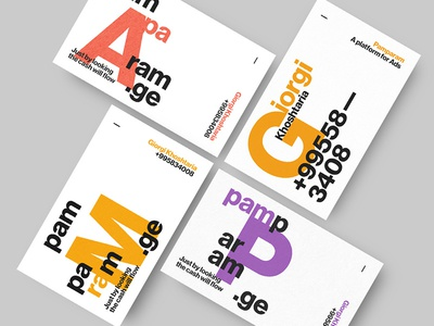 Pamparam — Business Cards business card dynamic brand typography helvetica