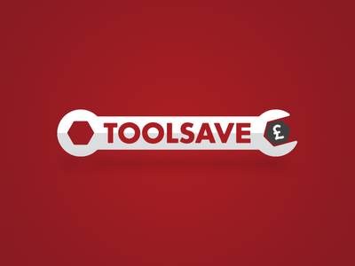 Toolsave typography branding e-commerce flat bold red brand save spanner tools logo