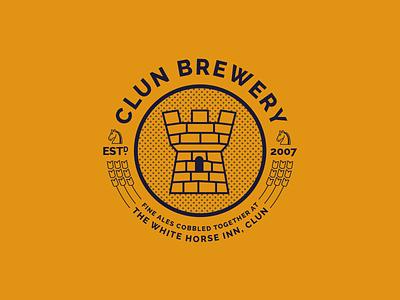 Clun Brewery rebrand branding gold orange inn pub castle typography logo ale brewery beer