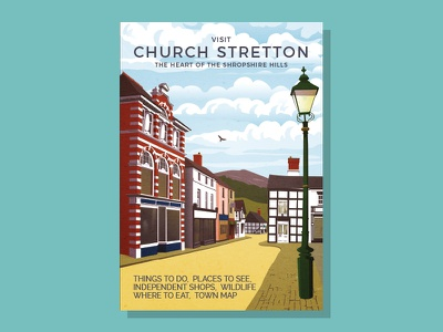 Church Stretton Visitor Guide retro cover quaint brochure town street illustration tourism