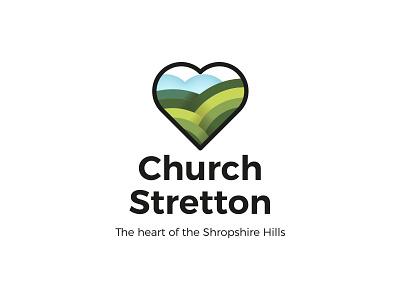 Church Stretton shropshire rebrand green branding town hillside sky hills heart typography logo