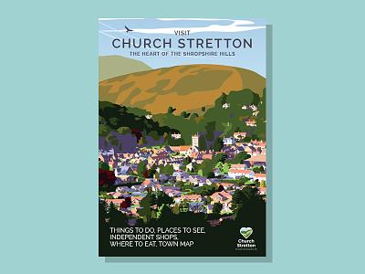 Visit Church Stretton 2018 countryside guidebook guide visitor tourism travel retro hillside hills village town illustration
