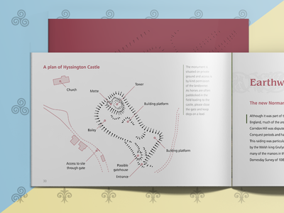 Helping Hillforts and Earthwork Castles Spread castle history page layout typography map plan brochure book