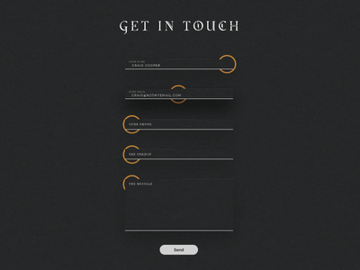 Animated Contact Form steampunk focus transition black dark website typography validate verify animate contact form