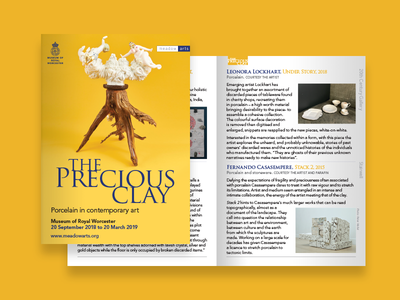 Precious Clay ceramics pottery worcester yellow sculpture typography cover pages publication leaflet exhibition gallery art booklet book brochure