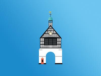 Bridgnorth Town Hall street town tourism shropshire historic building vector illustration