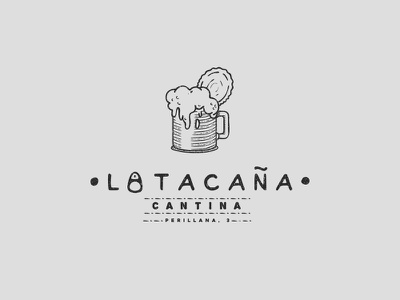 Latacana hand made can beer drawing draw cantina restaurant illustration line vintage logo