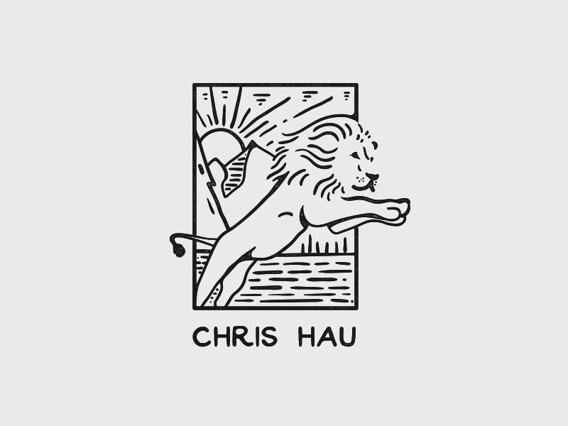 Chris Hau negative space negative minimal line design wilderness wild tries outdoors nature handmade vintage lion
