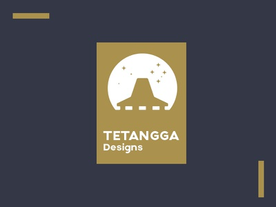 Tetangga Designs hut logo minimal design night gold hut stars sky flat minimalist minimal design logo