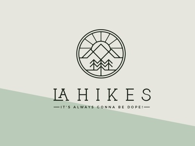 LaHikes los angeles circle mountain sun sky la minimal line tree hike outdoors logo