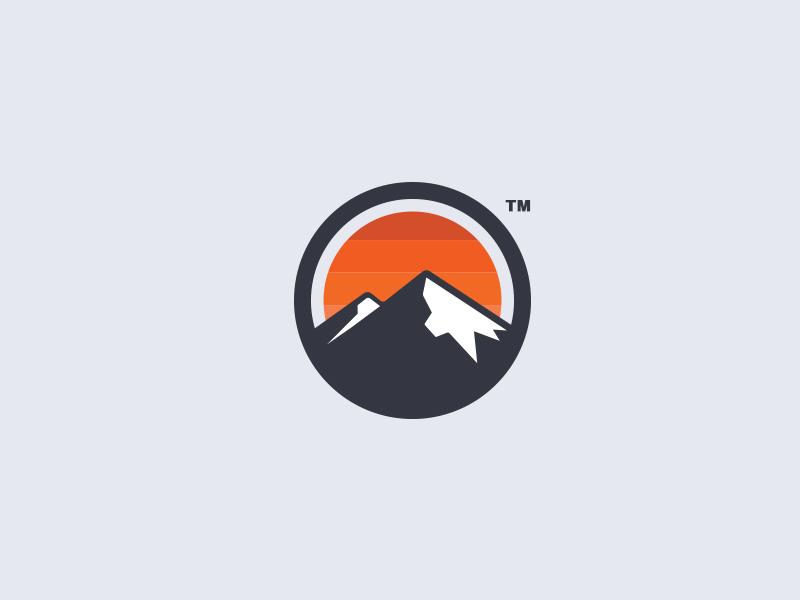 Logo Mark circle mark mountain logo logo mark circle sun sunset mountains mountain outdoors minimal