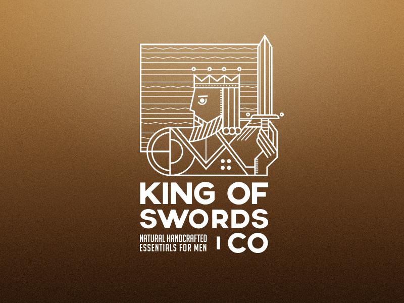 King Of Swords card logo king logo playing card king card line design gold line sword card king