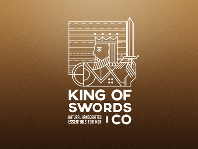 King Of Swords card logo king logo playing card king card line design gold line sword card king