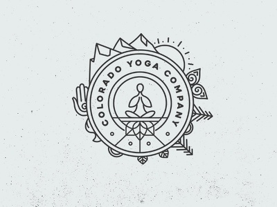 Colorado Yoga Co mountain logo line logo yoga logo wanderlust lotus nature trees sunrise sun mountain colorado yoga