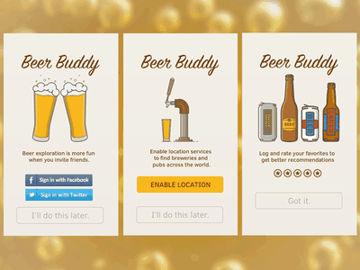 DailyUI #023 - Onboarding signpainter clear sans social login location tracking daily ui app beer onboarding mobile iphone
