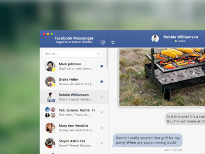Facebook Messenger UI .Sketch Freebie