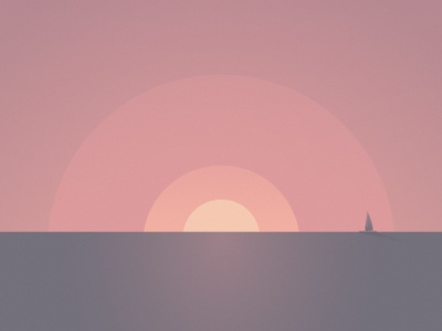 Shapes // Sunset landscape relaxing circle boat sea sunset minimal