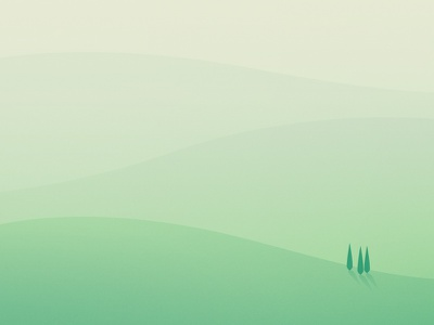 Shapes // Hills gradient green relaxing minimal landscape trees hills