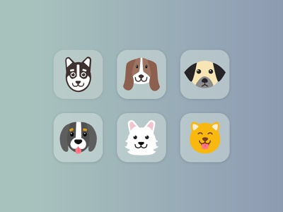 Daily UI #084 : Badges playful minimal light simple fun animal faces animals dogs puppies cute vector illustration design daily ui