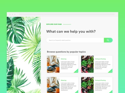 Daily UI #092 : FAQ tricks tips plants help center help faqs dailyui minimal light simple modern design interface design daily ui ui