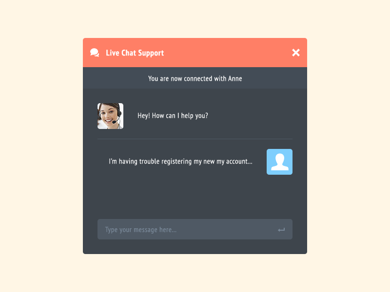 Live Chat Support Rebound clean ui flat chat avatar icon psd freebie download interface ux modal