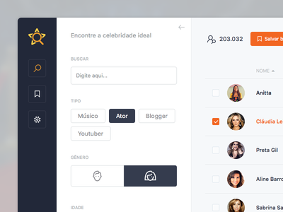 Celebrity search select ux ui clean form list icons button gender tag sidebar filter