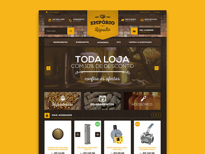 Homebrew Supply eCommerce desktop web ui rustic yellow banner products supply beer ecommerce
