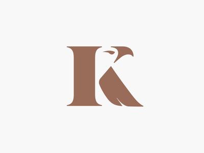 Kestral monogram mark icon letter k mongram kestral bird branding logo