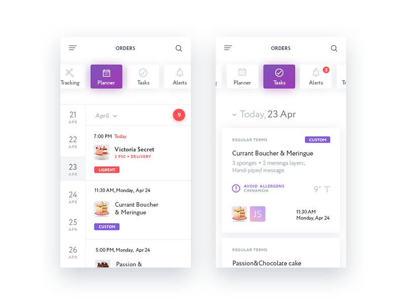 TakeCake Mobile App. Planner uiux ux ui planner horizontal scroll white cake e-com e-commerce mobile