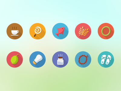 Colorful icons for Meiliwan icon meiliwan ui gui app mobile coffee candy fish durian slipper