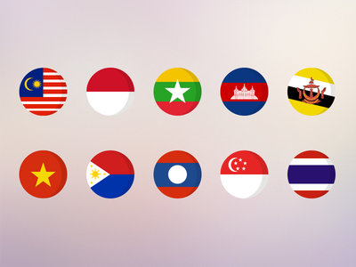 National flags of ASEAN national meiliwan asean country ui gui icon flag mobile app