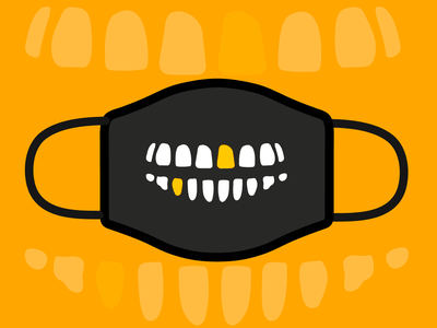Shine Bright Like A Gold Tooth (or two) contest awesome merch merch awesome tooth face mask design for good skull gold teeth mask hand drawn illustration