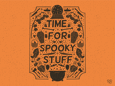 Time For Spooky Stuff nightmare bones flowers ghost knifes axe bats horror movies halloween texture typography grunge lettering illustration