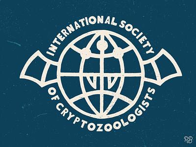 International Society of Cryptozoologists merchandise branding logo spooky cryptid globe design hand drawn texture typography grunge lettering illustration