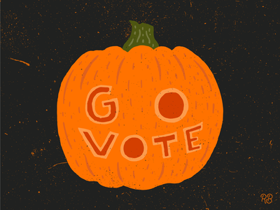 Go Vote Pumpkin political vote get out the vote go vote pumpkin carving pumpkin design hand drawn typography texture grunge lettering illustration