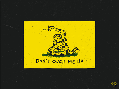Don't Ouch Me Up snek goof silly ouch dont tread on me america snake hand drawn typography texture grunge lettering illustration