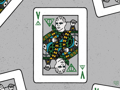 Voldemort Playing Card wizard wizarding world horcrux horcruxes elder wand deathly hallows playing card snake voldemort drawn harry potter fantasy art fantasy design hand drawn texture grunge lettering illustration