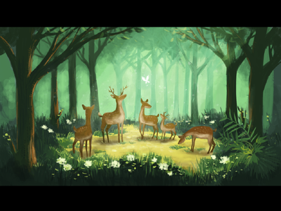 Deer & Forest safari illustration forest deer