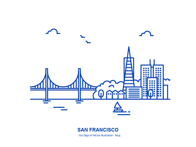 100 Days of Vector Illustration No.4 - San Francisco transamerica pyramid vector city golden gate bridge san francisco