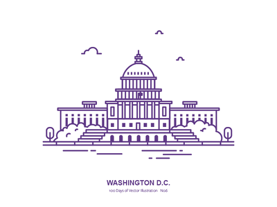 100 Days of Vector Illustration No.6 - Washington, D.C capitol outline illustration us city washington dc