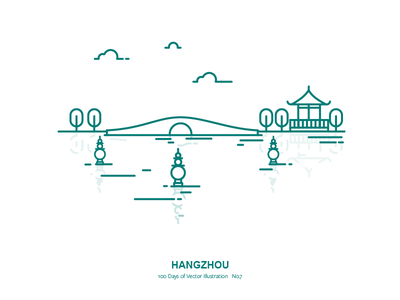 100 Days of Vector Illustration No.7 - Hangzhou illustration outline vector lake city west lake china hangzhou