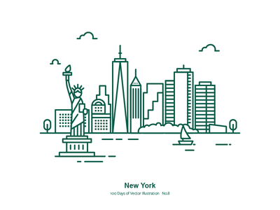 100 Days of Vector Illustration No.8 - NYC liberty the statue of liberty illustration vector us city new york nyc